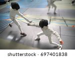 junior boys at fencing... | Shutterstock . vector #697401838