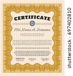 orange certificate of... | Shutterstock .eps vector #697402810