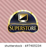gold badge or emblem with...   Shutterstock .eps vector #697405234