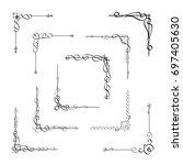 calligraphic corner frame... | Shutterstock .eps vector #697405630