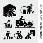 cleaning service man vector... | Shutterstock .eps vector #697405819