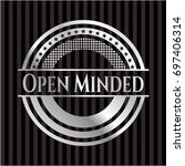 open minded silver badge or...   Shutterstock .eps vector #697406314