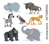 african animals cartoon set.... | Shutterstock .eps vector #697408504