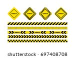 yellow with black line and... | Shutterstock .eps vector #697408708