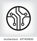 circuit board  technology icon  ... | Shutterstock .eps vector #697409830