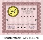 red certificate or diploma... | Shutterstock .eps vector #697411378