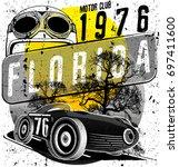vintage race car for printing... | Shutterstock .eps vector #697411600