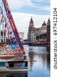 clipper fleet lined up in the...   Shutterstock . vector #697412104