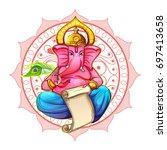 illustration of lord ganpati... | Shutterstock .eps vector #697413658