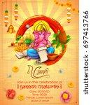 illustration of lord ganpati... | Shutterstock .eps vector #697413766