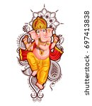 illustration of lord ganpati... | Shutterstock .eps vector #697413838