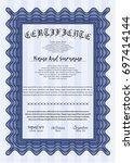 blue certificate template.... | Shutterstock .eps vector #697414144