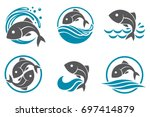 Collection Of Fish Icon With...