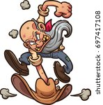 angry old miner slamming his... | Shutterstock .eps vector #697417108