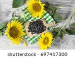 sunflower seeds and oil   Shutterstock . vector #697417300