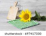 sunflower seeds and oil | Shutterstock . vector #697417330