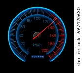speedometer icon. colorful info ... | Shutterstock .eps vector #697420630