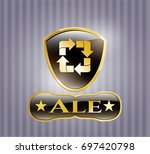 shiny badge with recycle icon...   Shutterstock .eps vector #697420798