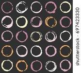 circular brush strokes grunge... | Shutterstock .eps vector #697423330