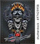 vintage motorcycle label | Shutterstock .eps vector #697425958