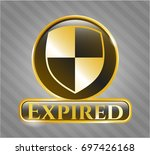 shiny badge with shield ...   Shutterstock .eps vector #697426168