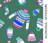 winter pullover cap mitten and... | Shutterstock . vector #697426288