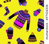 winter pullover cap mitten and...   Shutterstock . vector #697426336