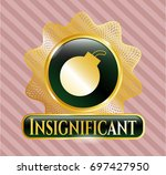 gold badge or emblem with bomb ...   Shutterstock .eps vector #697427950
