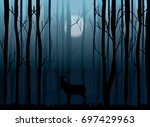 misty night in the  forest and... | Shutterstock .eps vector #697429963