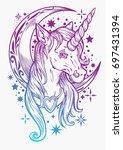 cute unicorn  tattoo  weird ...   Shutterstock .eps vector #697431394