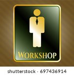 shiny badge with businessman...   Shutterstock .eps vector #697436914