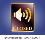 shiny badge with sound icon...   Shutterstock .eps vector #697436974