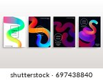 set of cards with blend liqud...   Shutterstock .eps vector #697438840