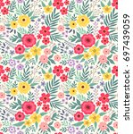 elegant floral pattern in small ... | Shutterstock .eps vector #697439059
