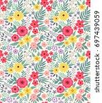 elegant floral pattern in small ... | Shutterstock .eps vector #697439059