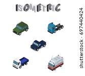 isometric automobile set of suv ...