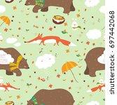 autumn forest seamless pattern... | Shutterstock .eps vector #697442068