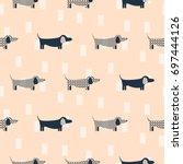 dachshund dog scandinavian...   Shutterstock .eps vector #697444126
