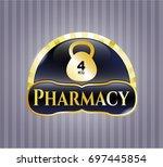 gold badge with 4kg kettlebell ...   Shutterstock .eps vector #697445854