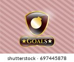 shiny badge with bomb icon and ...   Shutterstock .eps vector #697445878