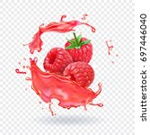 raspberry juice fresh fruit... | Shutterstock .eps vector #697446040