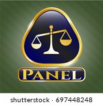 gold badge with scale icon and ...   Shutterstock .eps vector #697448248