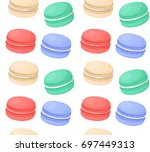 different colorful macaroons... | Shutterstock .eps vector #697449313
