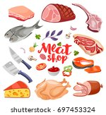 meat flavoring  vegetables and... | Shutterstock .eps vector #697453324