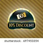 golden badge with money ...   Shutterstock .eps vector #697453354