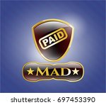 gold badge or emblem with paid ...   Shutterstock .eps vector #697453390