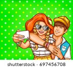 vector pop art illustration of... | Shutterstock .eps vector #697456708
