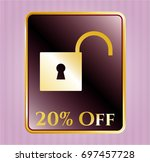 gold badge with open lock icon ...   Shutterstock .eps vector #697457728