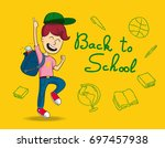 back to school. kid jumps for... | Shutterstock .eps vector #697457938