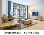 interior design with luxury... | Shutterstock . vector #697459408